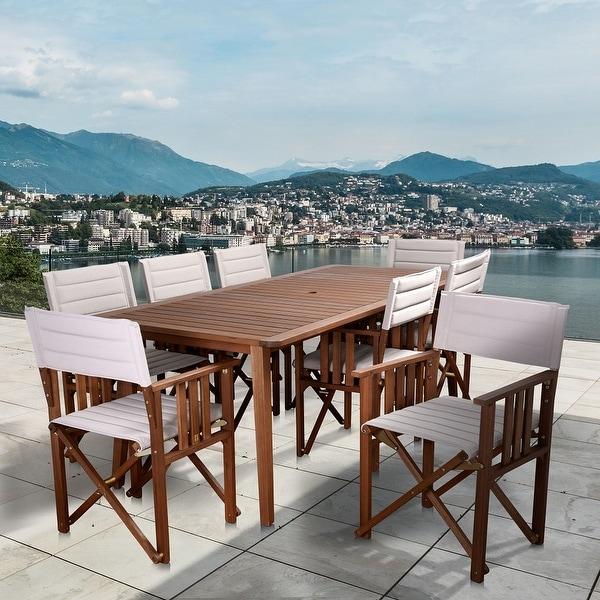 Amazonia Panama 9-Piece Outdoor Dining Set Patio Furniture Rectangular, Khaki. Opens flyout.