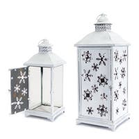 Set of 2 Large White Cut-Out Snowflake All-Weather Iron and Glass Christmas Candle Lanterns