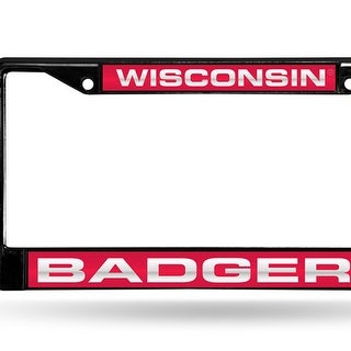 Wisconsin Badgers Black Laser Cut Metal License Plate Cover Frame