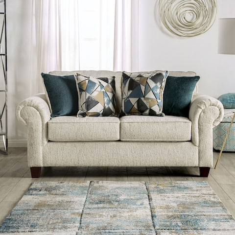 Furniture of America Mecia Transitional Rolled Arms Loveseat