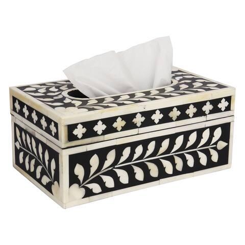 "GAURI KOHLI Jodhpur Bone Inlay Tissue Box Cover in Midnight Black - 10"" X 6"" X 4.5"""
