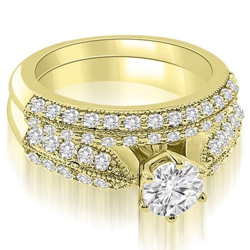 1.70 cttw. 14K Yellow Gold Antique Cathedral Round Cut Diamond Bridal Set