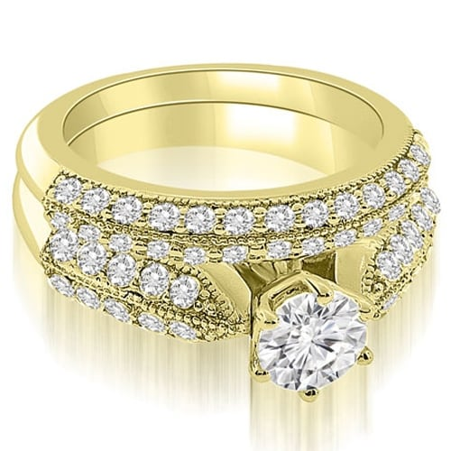 2.20 cttw. 14K Yellow Gold Antique Cathedral Round Cut Diamond Bridal Set