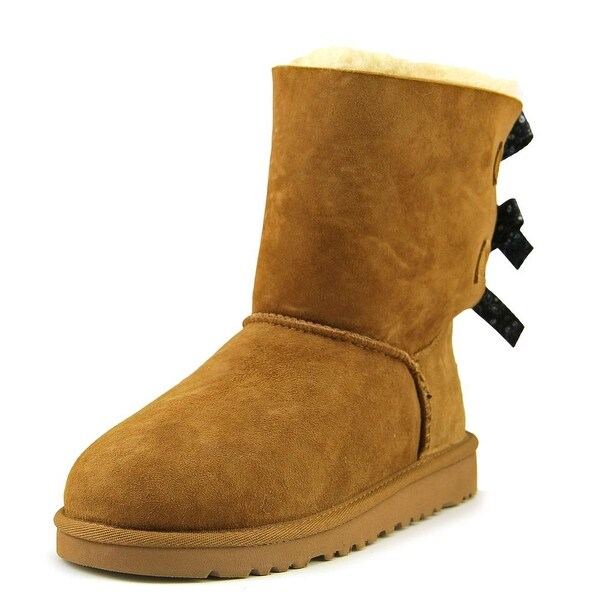 Ugg Australia Bailey Bow Bandana Youth Round Toe Suede Tan Winter Boot