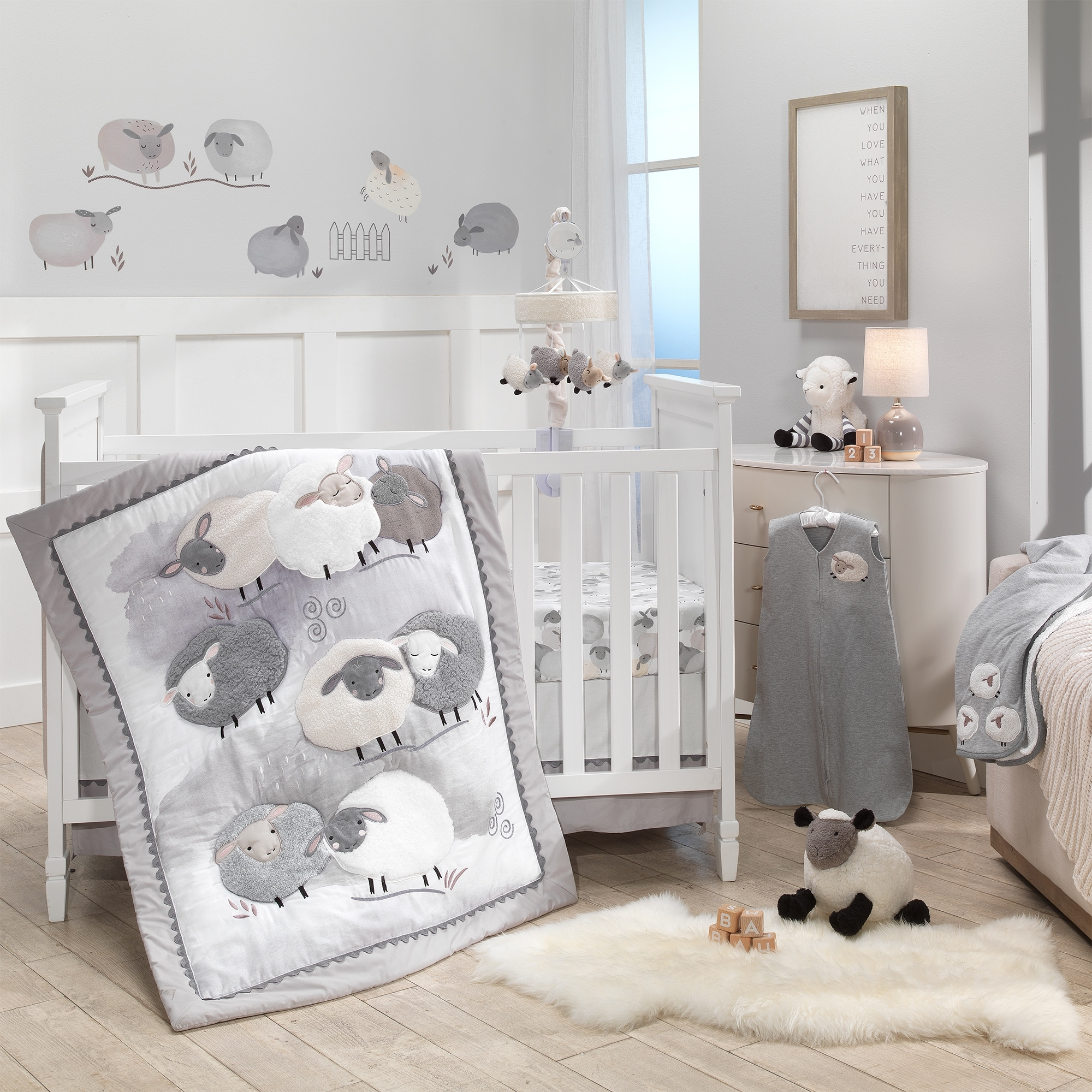 Lambs Ivy Sleepy Sheep 5 Piece Gray White Watercolor Baby Crib Bedding Set Overstock 30714458