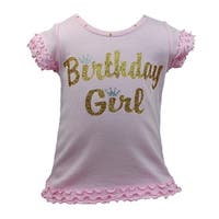 Reflectionz Little Girls Pink Glitter Crown Birthday Girl T-Shirt 2-6