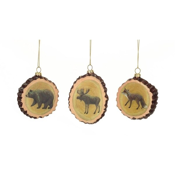 "Set of 12 Rustic Wood Slab Bear, Fox, and Moose Glass Christmas Ornaments 3.25""-3.5"" - brown"