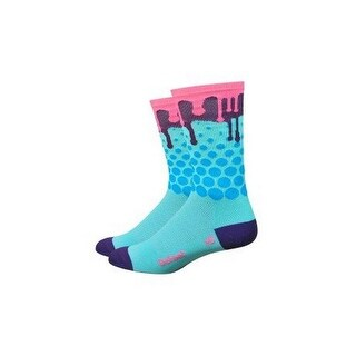DeFeet AirEator 6in Drip Cycling/Running Socks - AIRTDRIP (Drip - Neptune/Blue/Brown/Pink - XL)