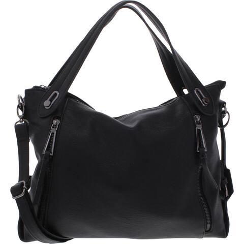 Jessica Simpson Roxanne Women's Faux Leather Convertible Signature Satchel Handbag - Medium