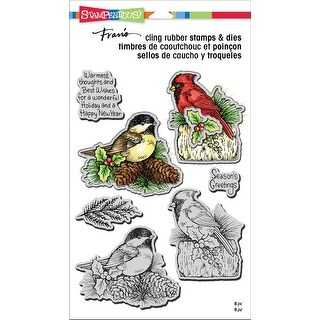 Stampendous Cling Stamp & Die Set -Holiday Birds