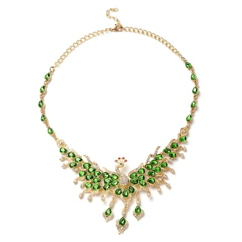Goldtone Green Glass Crystal Necklace Gift Fine Jewelry Size 21 In - Size 21''