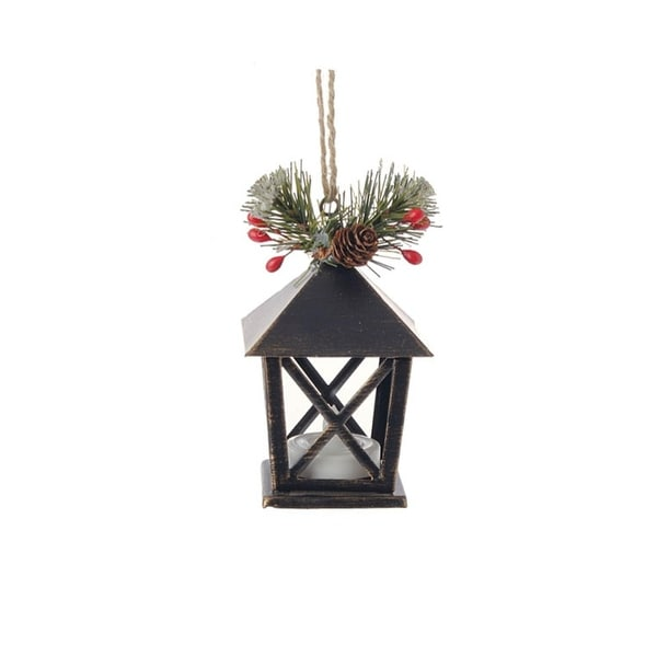 "4.5"" Country Cabin Lighted Black & Gold Distressed Mini Lantern Christmas Ornament"