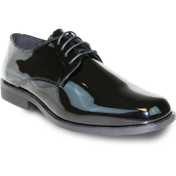 VANGELO Men Dress Shoe TUX-1 Oxford Formal Tuxedo for Prom & Wedding Shoe Black Patent -Wide Width Available