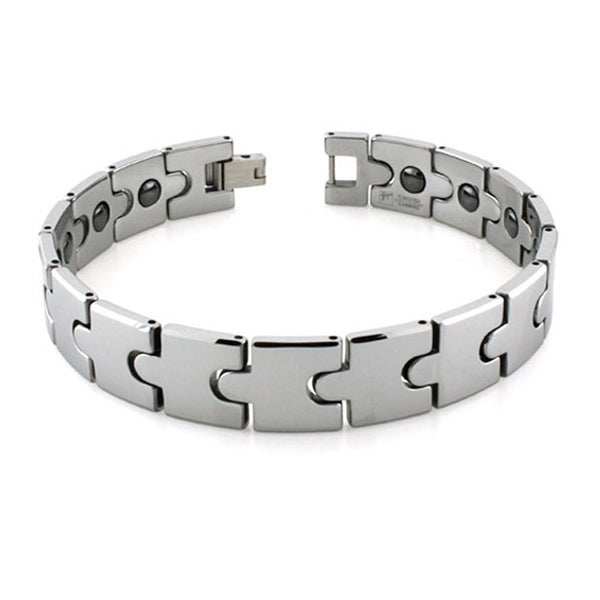 Men's Tungsten Carbide Puzzle Piece Link Bracelet with Magnets - 8.25 Inches