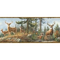 Brewster TLL48463B Ashmere Brown Whitetail Crest Border Wallpaper - brown whitetail crest