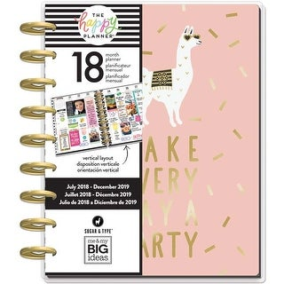 "Gold Getter; Jul 2018-Dec 2019 - Happy Planner 18-Month Dated Medium Planner 7.75""X9.75"""