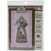 """Spring Angel By Jim Shore Counted Cross Stitch Kit-9""""X15"""" 14 Count"""