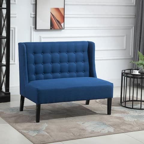 HOMCOM Linen Fabric Upholstery Double Sofa Tufted Loveseat Armless Couch Living Room Furniture with Wood Legs