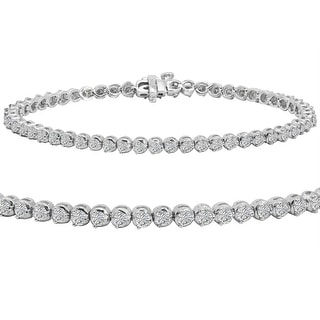 AGS Certified 3ct TW Diamond Tennis Bracelet in 14K White Gold