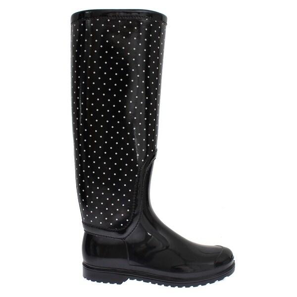 Dolce & Gabbana Black Polka Rubber Rain Boots - 38