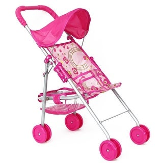 Lollipop Girls Foldable Doll Stroller with Hood and Basket