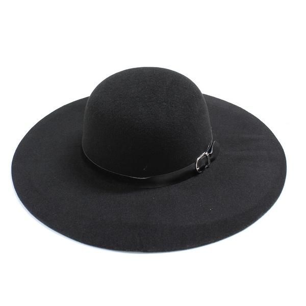 Womens Wide Brim Floppy Felt Hat with Buckle