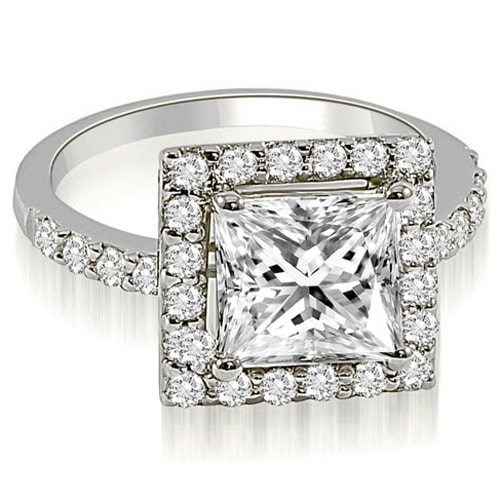 1.30 cttw. 14K White Gold Princess and Round cut Halo Diamond Engagement Ring