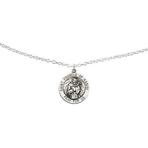 Sterling Silver Saint Francis of Assisi Medal with 18-inch Cable Chain by Versil