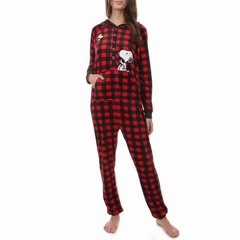 Peanuts Womens Sleepwear Red Size Small S Plaid Snoopy Pajama Sets