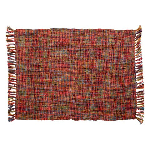 Woven Acrylic Throw with Tassels, Multi Color