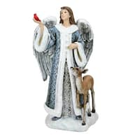 "9.5"" Joseph's Studio Blue Angel with Cardinal and Deer Christmas Tabletop Figure"
