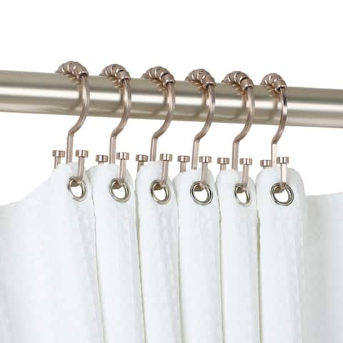 Utopia Alley Deco Flat Double Roller Shower Curtain Hooks, Satin Nickel - Brushed Nickel
