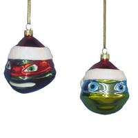 Teenage Mutant Ninja Turtles Raphael & Leonardo 3 Glass Ornament Set of 2""