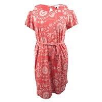 Lucky Brand Women's Trendy Plus Size Cold-Shoulder Dress - Rust Multi