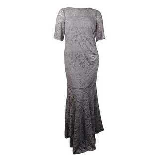 Xscape Women's Petite Lace Shimmer Mermaid Gown - Silver