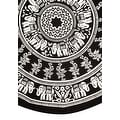 Handmade 100% Cotton Mandala Floral Tie Dye Elephant Print Tablecloth 72 Inch Round - Black & White and Black & Brown - Thumbnail 1