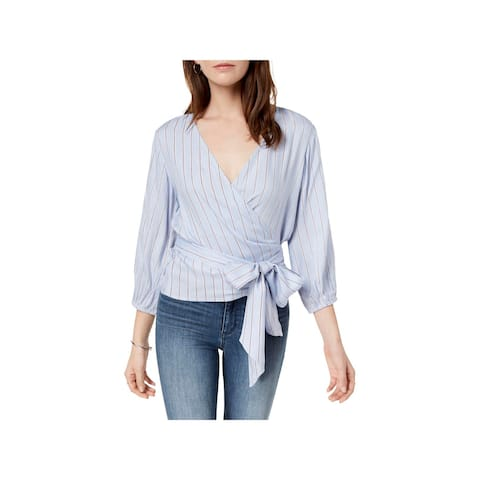 Polly & Esther Womens Wrap Top Striped V-Neck - L