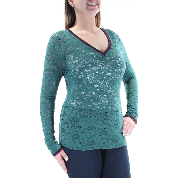 3e836758aa92 Shop Womens Green Floral Long Sleeve V Neck Top Size L - Free Shipping On  Orders Over  45 - Overstock - 21242206