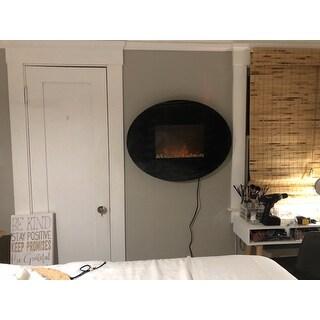Shop Northwest Black Oval Glass Panel Electric Fireplace