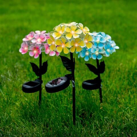 Solar LED Metal Flower Stake Lights - 3 Colors