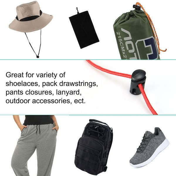 Camping Bags Shoelaces Clear uxcell 6pcs Plastic Cord Locks Stoppers End Spring Stop Single Hole Toggle Fastener Stoppers Rope End for Drawstrings Clothing