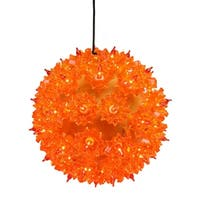 Amber Orange Lighted Hanging Starlight Sphere Outdoor Christmas Decoration 6""