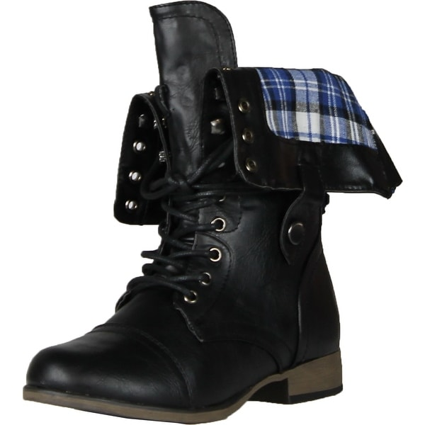 Legend8 Leatherette Military Combat Boot Lace Up Foldable Women New