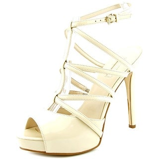 Guess Hazzel Women Open Toe Patent Leather Nude Platform Heel