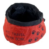 Unique Bargains Portable Red Folded Pet Dog Cat Camping Hiking Travel Food Water Bowl