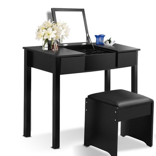 Black / White Vanity Makeup Dressing Table Set with Cell Storage Box-Black