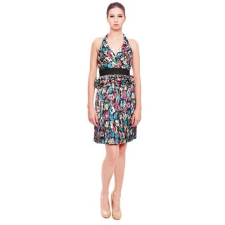 Phoebe Couture Playful Satin Print Halter Dress