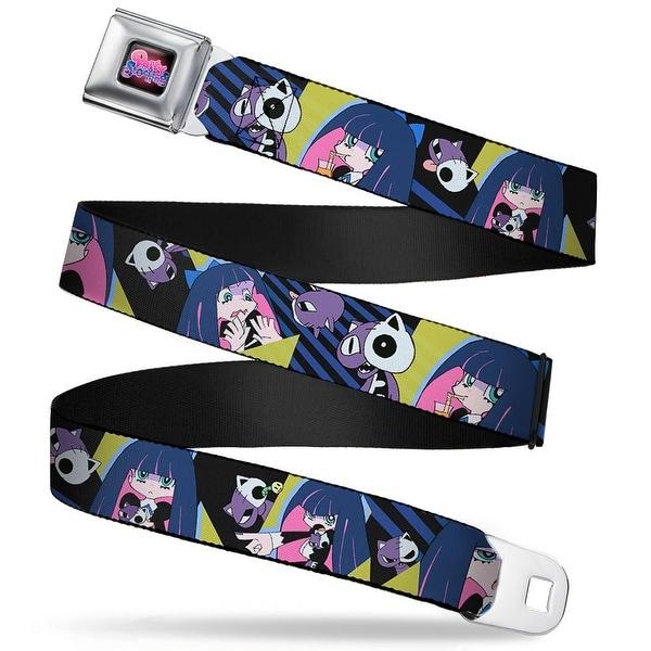 Panty & Stocking With Garter belt Logo Full Color Black Pinks Purples Seatbelt Belt