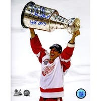 Chris Chelios Detroit Red Wings 2002 Stanley Cup Trophy 8x10 Photo wHOF 2013