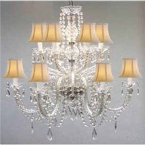 Murano Venetian Style All Crystal Chandelier Lighting With White Shades